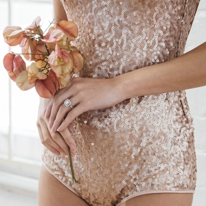 Gold Sequin Bodysuit For Boudoir