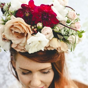Bride With Fall Color Flower Crown