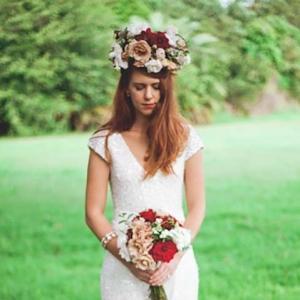 Bride In White Sequin Wedding Dress