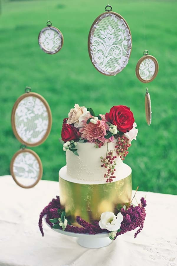 Gold Cake With Lace Hoops