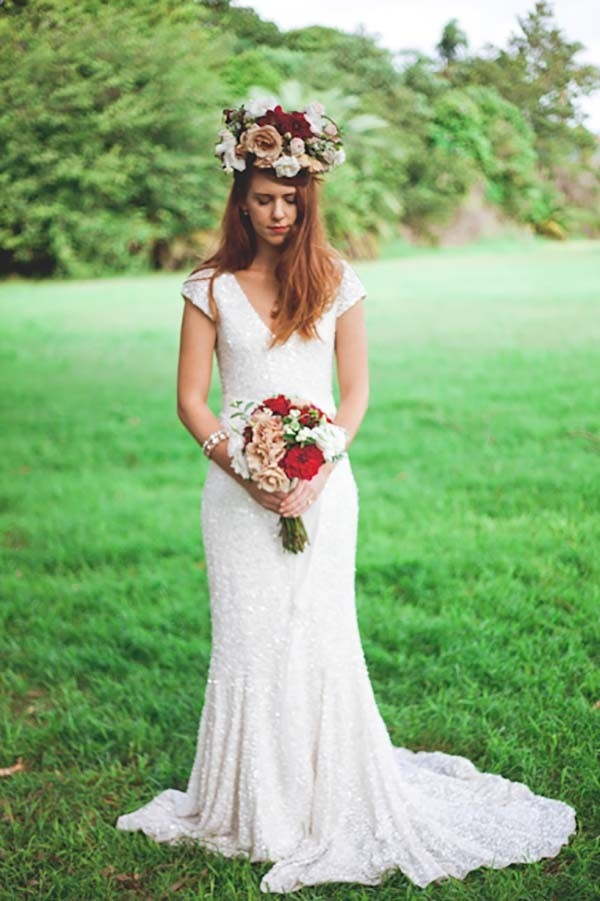 Bride In White Sequin Wedding Dress