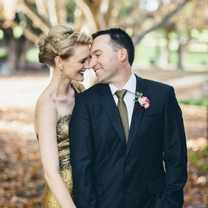Australian Wedding With Gold Marchesa Dress