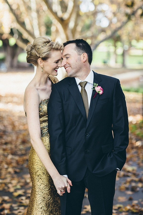 Australian Wedding With Gold Marchesa Dress