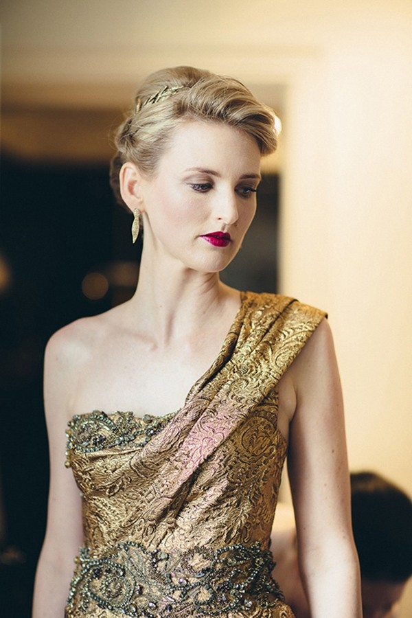 Bride In Gold Wedding Dress With Red Lips