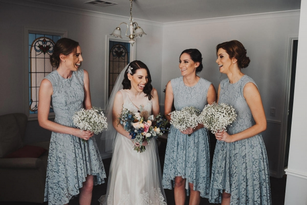 Bride With Bridesmaids In Pale Blue