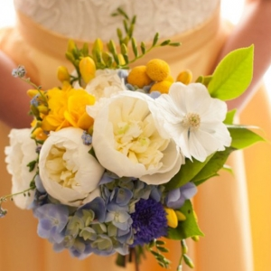 White Yellow And Blue Bouquet