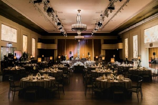 Black Tie Mural Hall Wedding Aisle Society