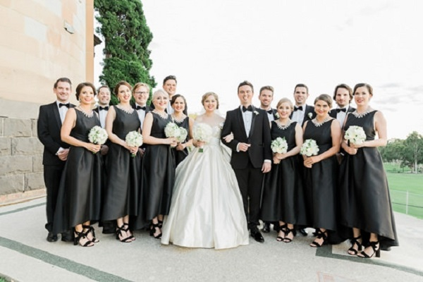Black tie mural hall wedding aisle society black tie bridal party junglespirit Image collections
