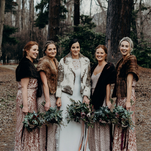 Winter bridesmaids in furs