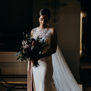 Elegant bride in cape