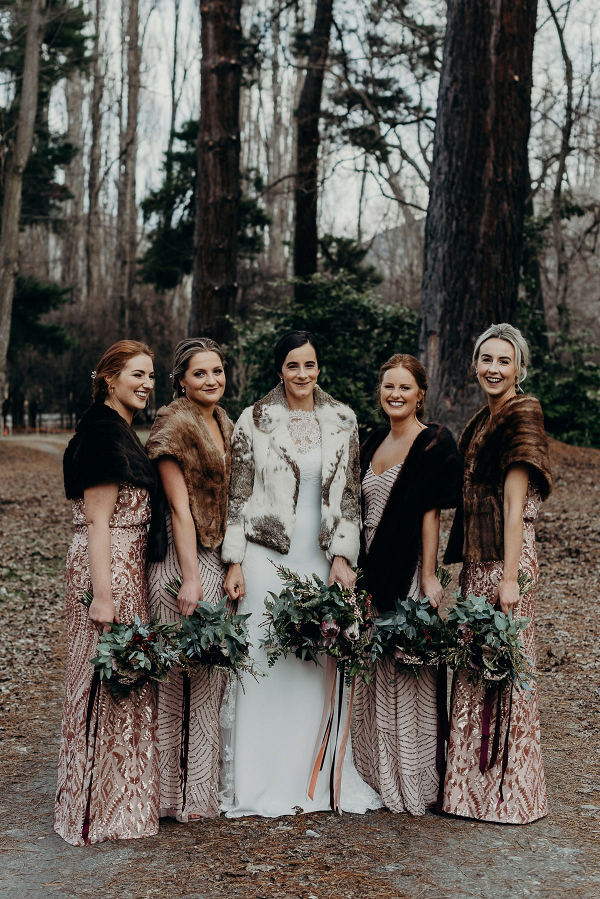 Winter bridesmaids in furs