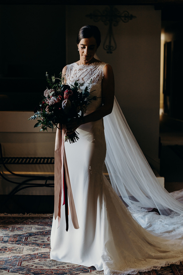 Elegant bride in cape