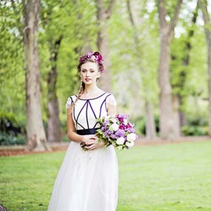 Bride With Purple Bouquet