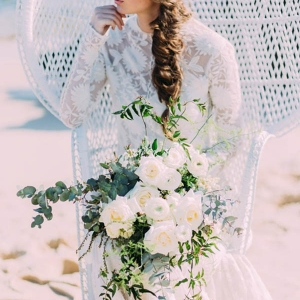 Boho Bride In Peacock Chair