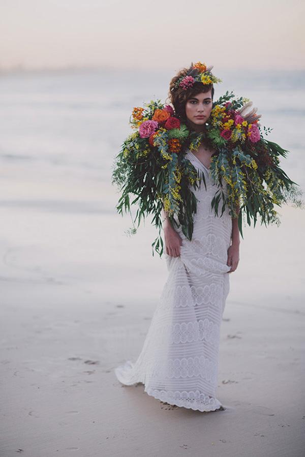 Bride With Floral Cape