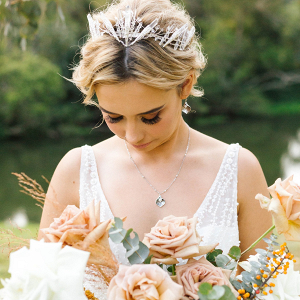 Boho crystal bridal crown