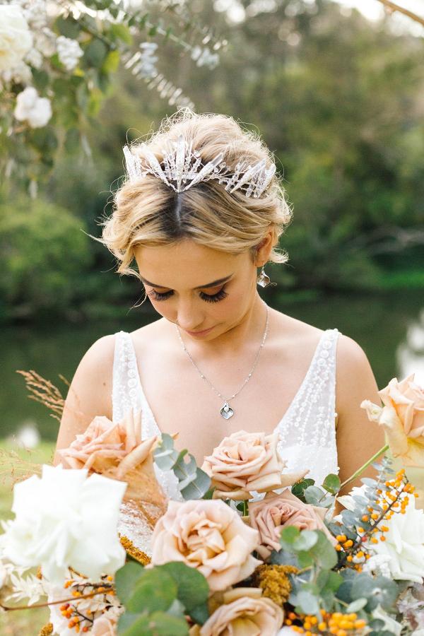 Boho crystal bridal crown