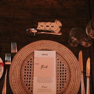 Wicker wedding place setting