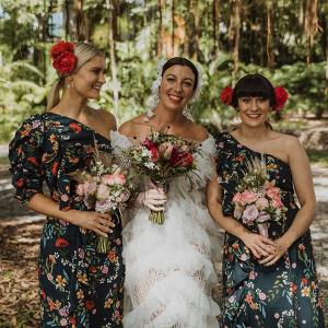 Floral printed bridesmaid dresses
