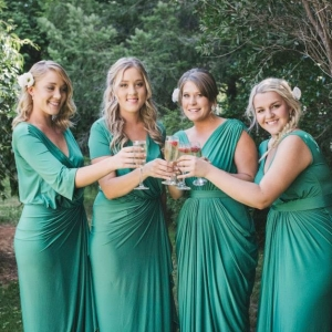 Bridesmaids Wearing Jade Green