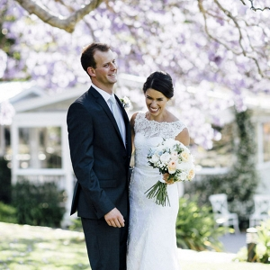 Newlyweds With Jacaranda Tree