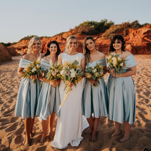 Off the shoulder satin bridesmaid dresses