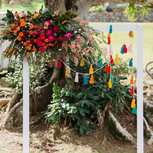 Colorful tassel wedding backdrop