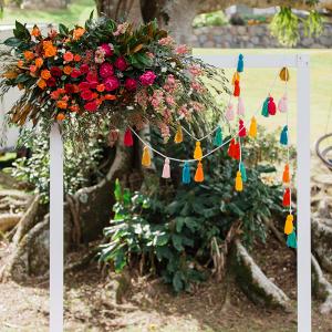 Colorful tassel wedding backdrop