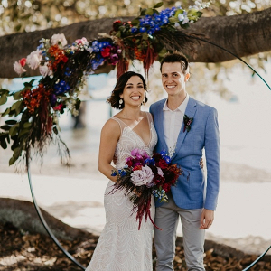 Colorful round floral arch