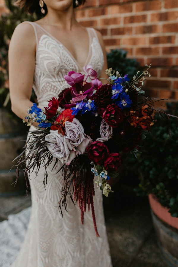 Purple, red, and blue jewel tone bouquet