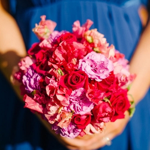 Hot Pink Wedding Bouquet With Blue Dress
