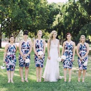 Bridesmaids In Pattern Dresses