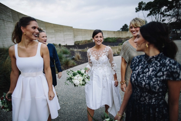Bride With Bridesmaids In Navy, White & Taupe