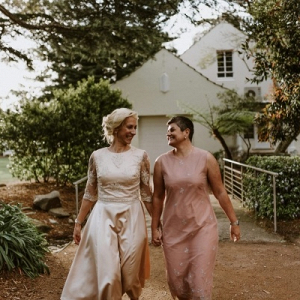 Two brides casual garden wedding