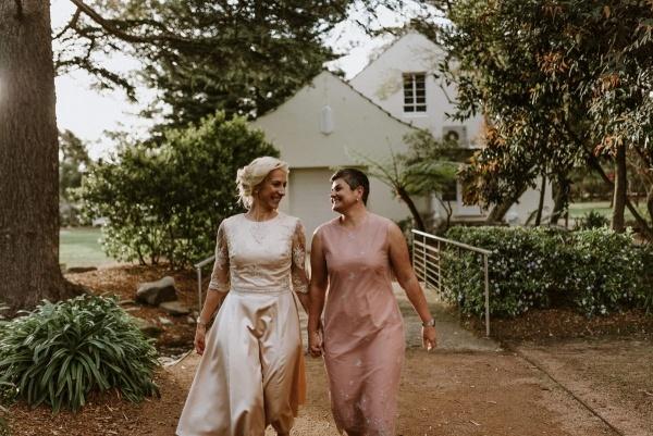 Two brides casual garden wedding