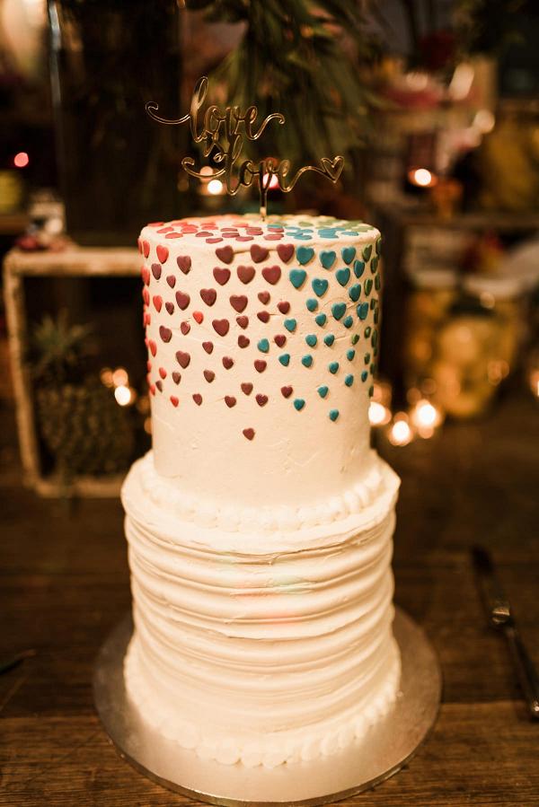 Rainbow heart wedding cake