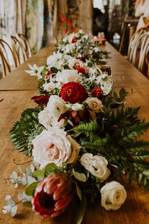 Floral garland wedding centerpiece