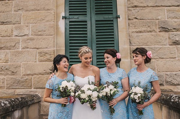 Bride With Bridesmaids In Pale Blue Dresses