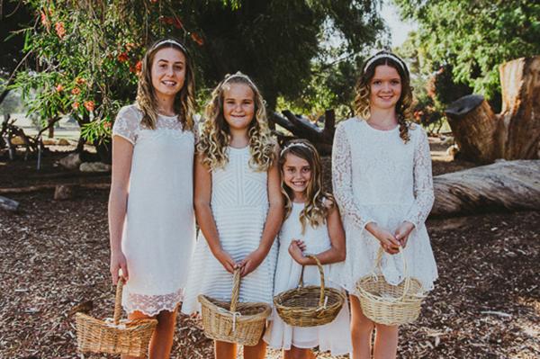 Flowergirls In White Dresses