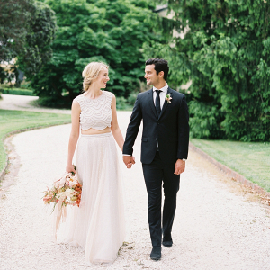 Modern elegant wedding couple