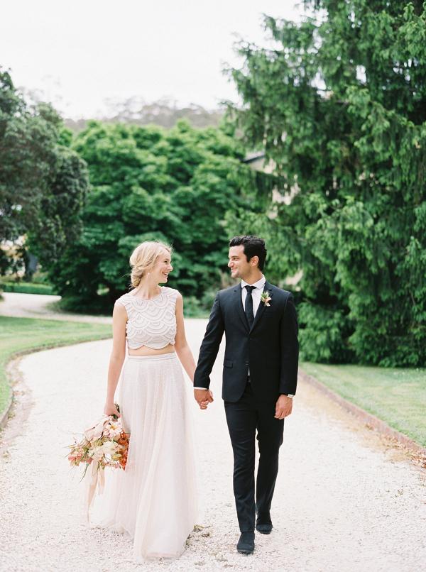 Modern elegant wedding couple