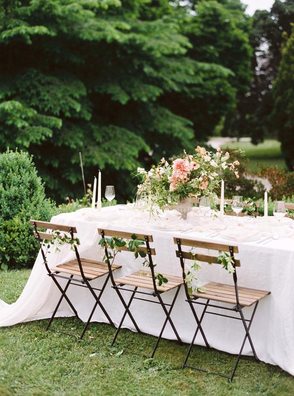 Classic garden wedding reception table