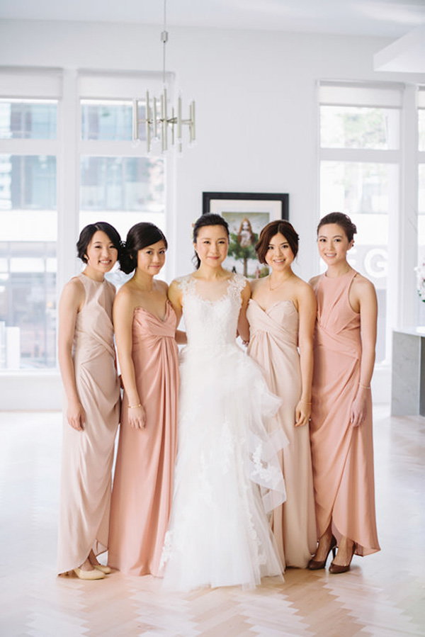 Bridesmaids In Mismatched Pink Dresses