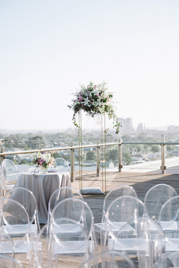 Rooftop Wedding Ceremony With Ghost Chairs