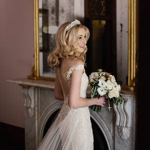 Elegant tulle train wedding dress