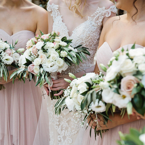 Classic blush bridesmaids