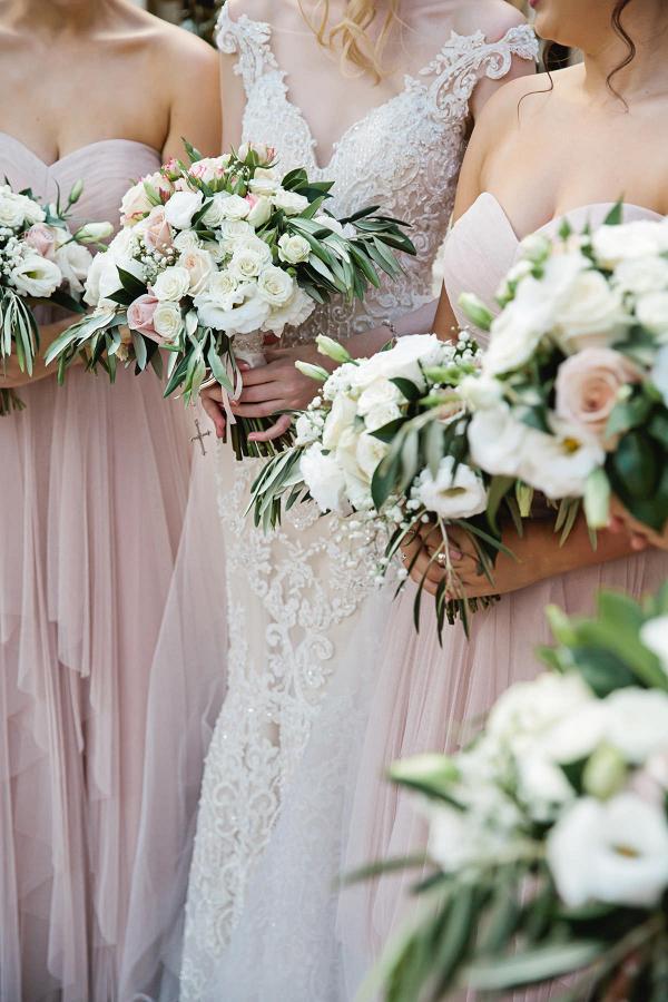 Classic blush bridesmaids