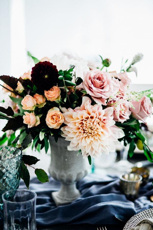 Indigo Peach and Marsala Wedding Centerpiece