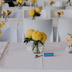 Modern colorful wedding centerpieces