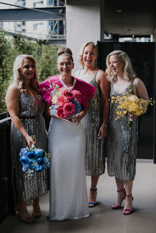 Metallic sequin bridesmaid dresses